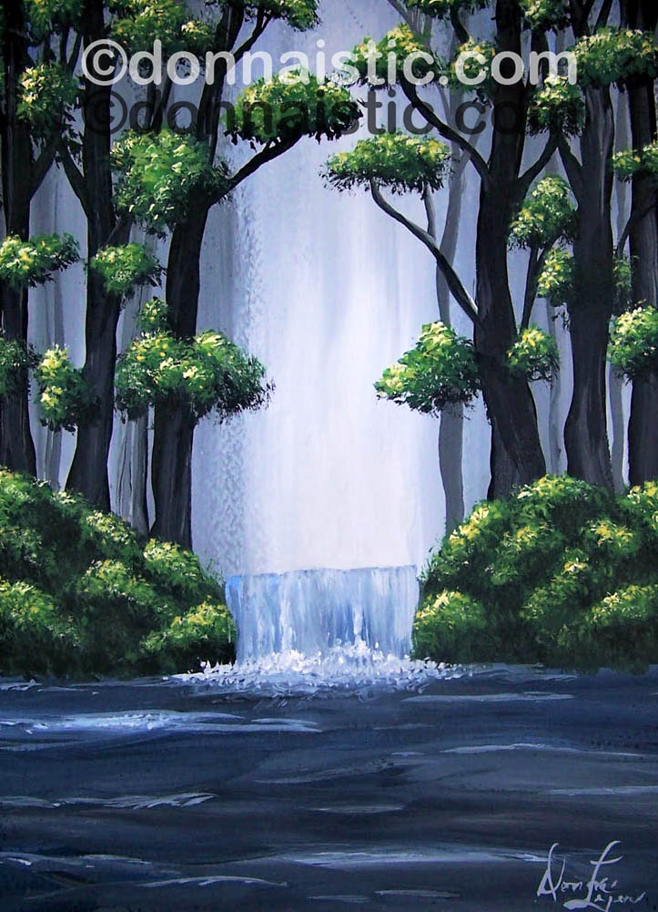 Waterfall in the forest. Acrylic Painting by Donna Léger