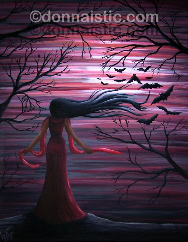 A goth woman attracting bats on a full moon, Wearing a red dress against the blood red sky and her long black hair flowing in the wind. Acrylic Painting by Donna Léger