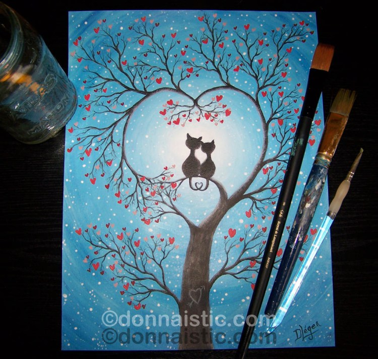 Two black cats looking at the full moon, sitting on a branch with hearts growing from the tree, Original Whimsical Acrylic Art Painting by Donna Léger