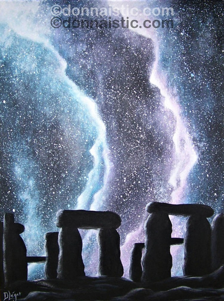 """Stonehenge on a starry night. Made it following a """"Paint with Jane"""" video, Acrylic Painting by Donna Léger"""