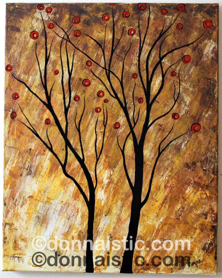 Abstract and Whimsical Tree. Burning of a Forest. Original Acrylic Painting by Donna Léger.