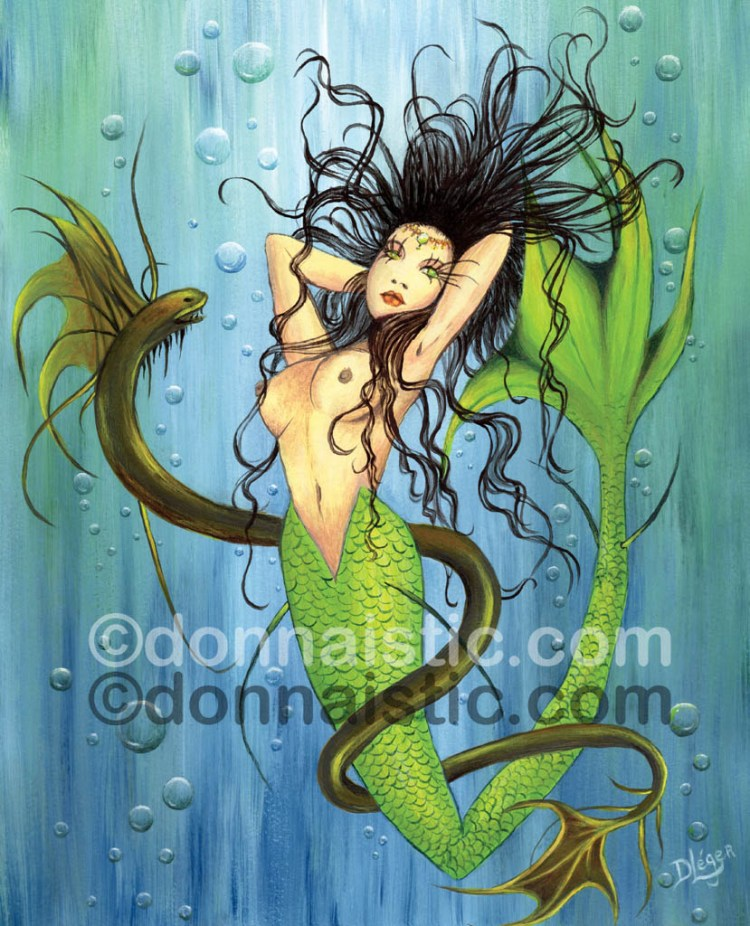 Mermaid underwater with an eel. Fantasy Art. I made this for my Vincent. Acrylic Painting by Donna Léger.