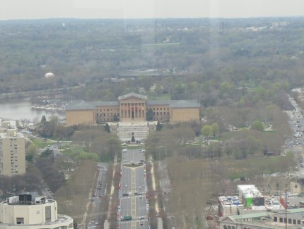 Philadelphia looking west toward Phila Art Museum, Schuylkill River on left side of photo