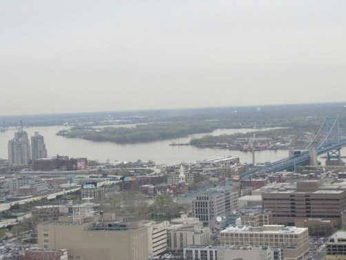 Atop Philadelphia's City Hall looking east over the Delaware River- a broad flat coastal plain
