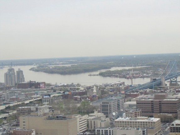 Atop Philadelphia's City Hall looking east over the Delaware River - a broad flat coastal plain