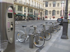 Velib bicycles in Paris, France, 2014. Photo by Donna L. Long, 2014. All rights reserved.