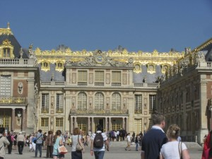 The original part of Versailles, the royal Palace in France. Originally the gold was real gold leaf, today its fake. Photo by Donna L. Long, 2014. All rights reserved.