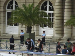 Plenty of Gendarmes (French National Police) guard the Luxembourg Palace, home of the French Senate.