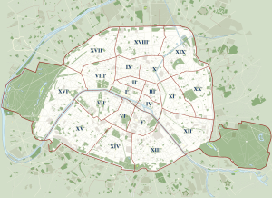 "Paris Arrondisements ""Plan: 2005 J.M. Schomburg, Wikimedia."