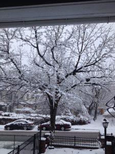 a snowy street scene spring equinox 2015