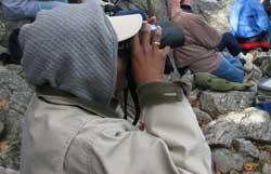 Donna watching hawk migration on Hawk Mountain.