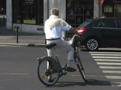 cyclist in Paris, France