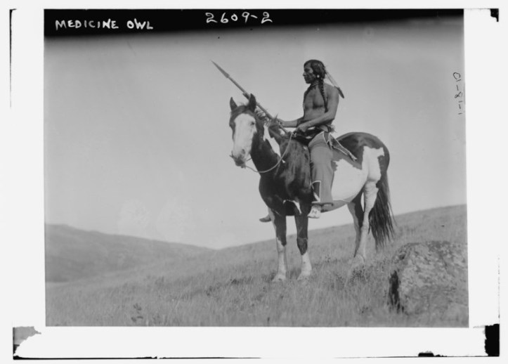 American Indian man on pony