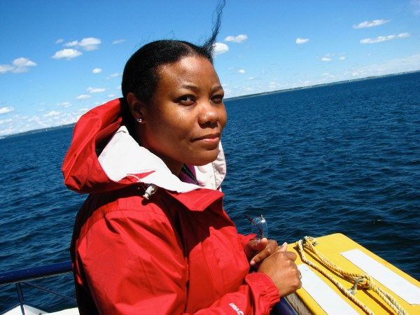 Donna on disappointing whale watch off the coast of Nova Scotia. Photo by Ruby Long.
