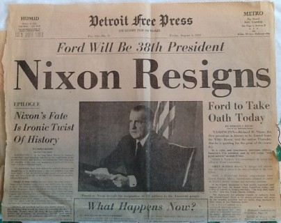 nixon-resigns-detroit freepress newspaper