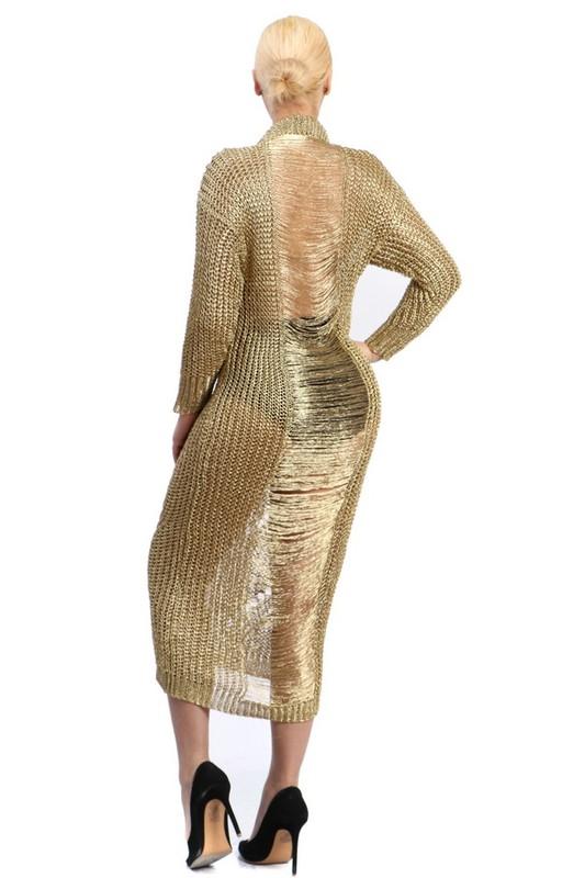 gold laser cut ripped maxi sweater dress