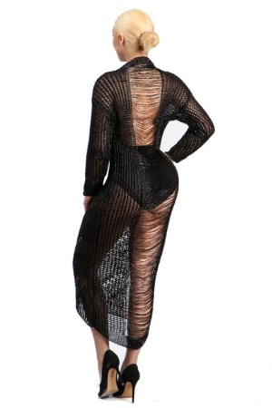 black laser cut ripped maxi sweater dress