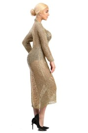 gold laser cut ripped maxi sweater dress side