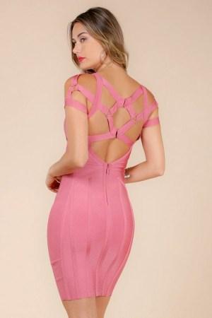 Gigi Strappy Open Shoulder Dusty Rose Bandage Dress donnards.com