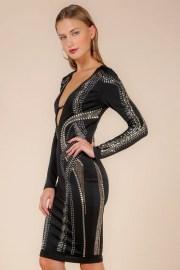 Alexa Plunging Studded Embellished Black Bandage Dress donnards.com