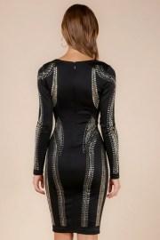Alexa Plunging Studded Embellished Black Bandage Dress donnards.cm