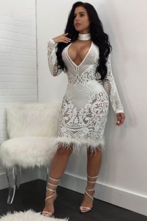 Sexy Deep V Neck Sequined Choker Bodycon Feather Patchwork Party Dress