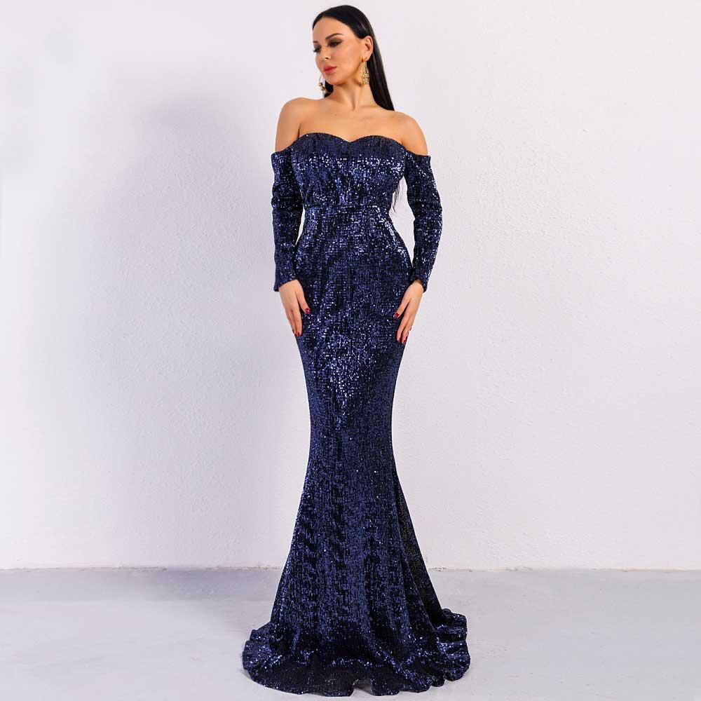 Mermaid Sequin Prom Dresses dark blue