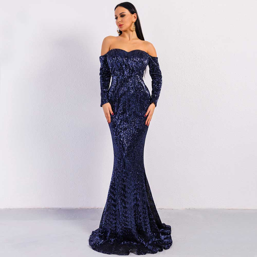 32ae4044a82 Elegant Long Sleeve Off Shoulder Sequin Maxi PROM Dress FT8714 ...