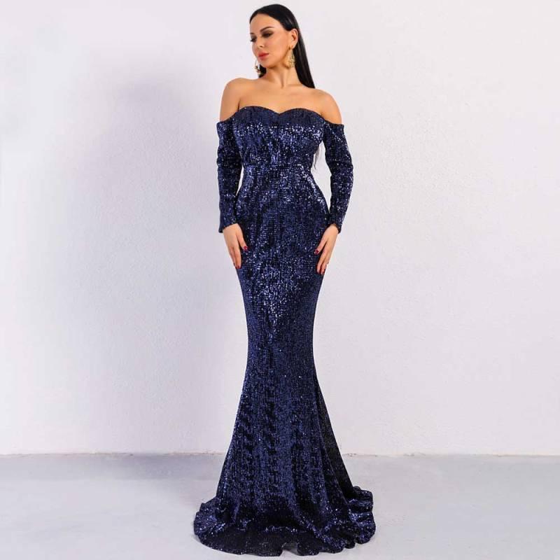 Elegant Long Sleeve Off Shoulder Sequin Maxi PROM Dress FT8714 ...