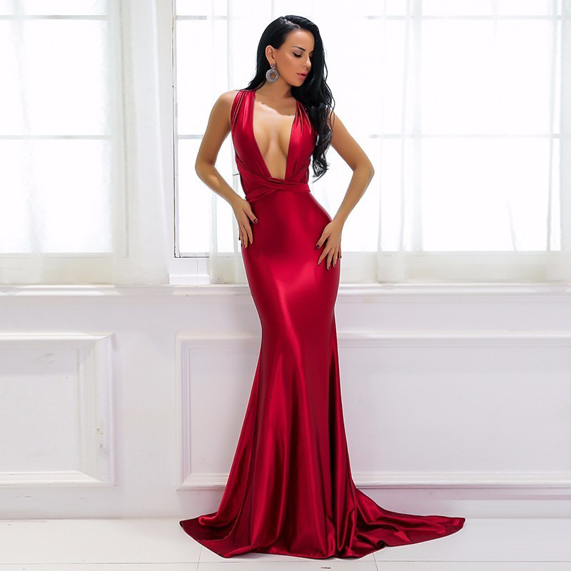 Elegant Backless Satin Maxi Long Dress Women Clubwear Summer Dress Party Sexy Red Dresses Bandage