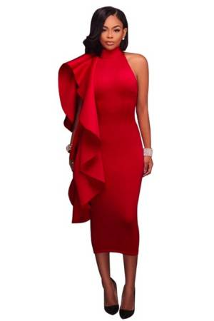 Champaign & Candlelight Super Ruffle Sleeveless Red Midi Bandage Dress