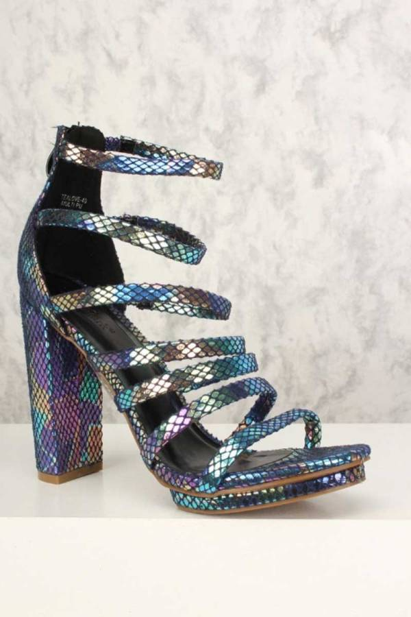realove-40 holographic block chunky heel sandals