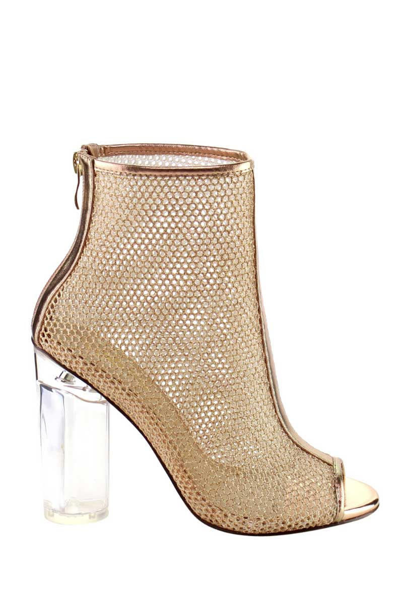 9ee2effa6ced Rose Gold Mesh Peep Toe Lucite Clear Chunky Heel Ankle Boots   DONNARD S
