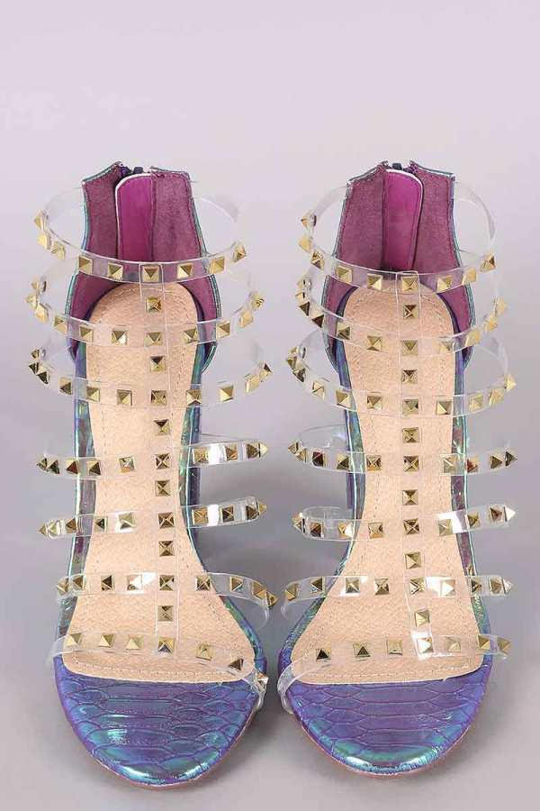 Liliana Clear Studded Straps Holographic Chunky Heel in Purple
