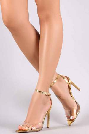 Liliana Transparent Open Pointy-Toe Gold Stiletto Heel