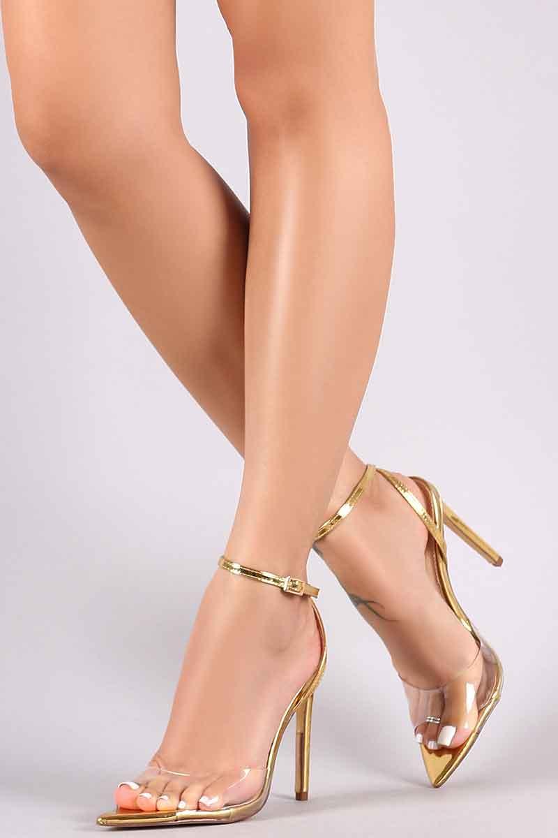 4b2bae2e0a47 Liliana Transparent Open Pointy-Toe Gold Stiletto Heel : DONNARD'S