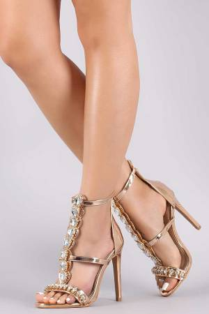 Rhinestone Metallic Triple Strap Open Toe Stiletto Heel