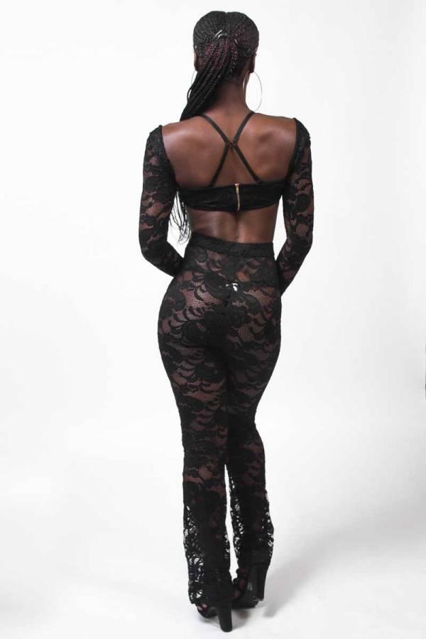 This What Happens Black Sheer Lace Pants Set