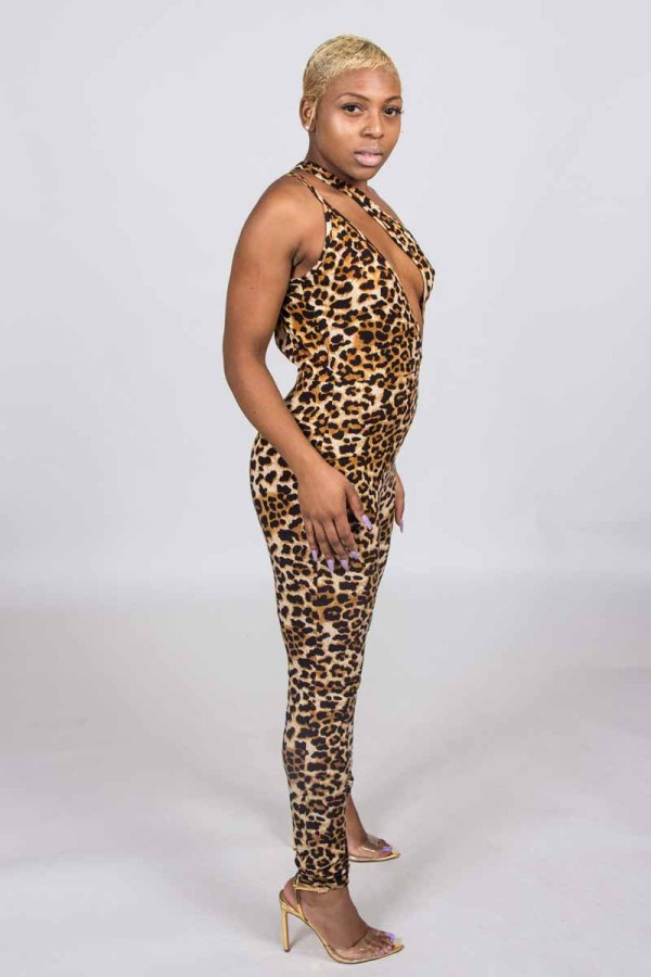On The Attack Leopard Print Party Catsuit