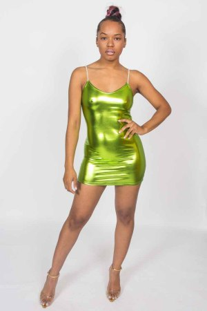 See Me Spaghetti Strap Bodycon Neon Green Mini Dress