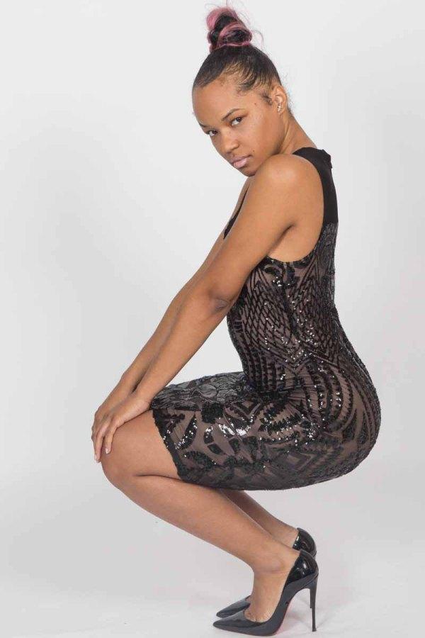 Carpe Diem Sequin Mesh Black Bodycon Dress
