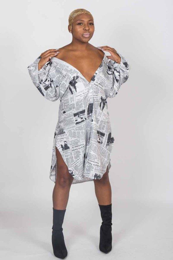 In The News News Paper Print Long Shirt Dress