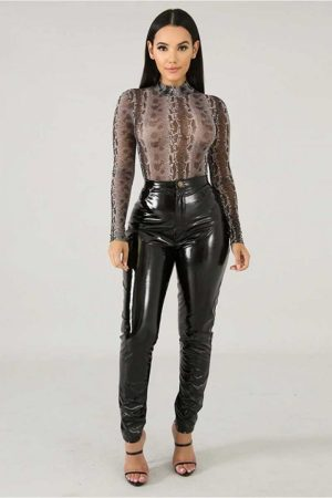 Symbiotic black Liquid Latex Faux Leather High Waist Skinny Pants