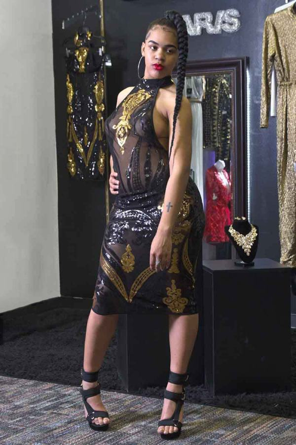 Malaysya Glitter Sequin Vintage Sheer Dress