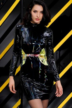 Slick Wit It Liquid Latex Mock Neck Faux Leather Dress
