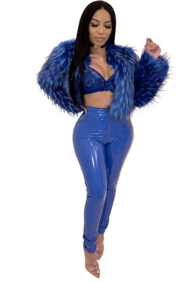 symbiotic blue liquid latex pants