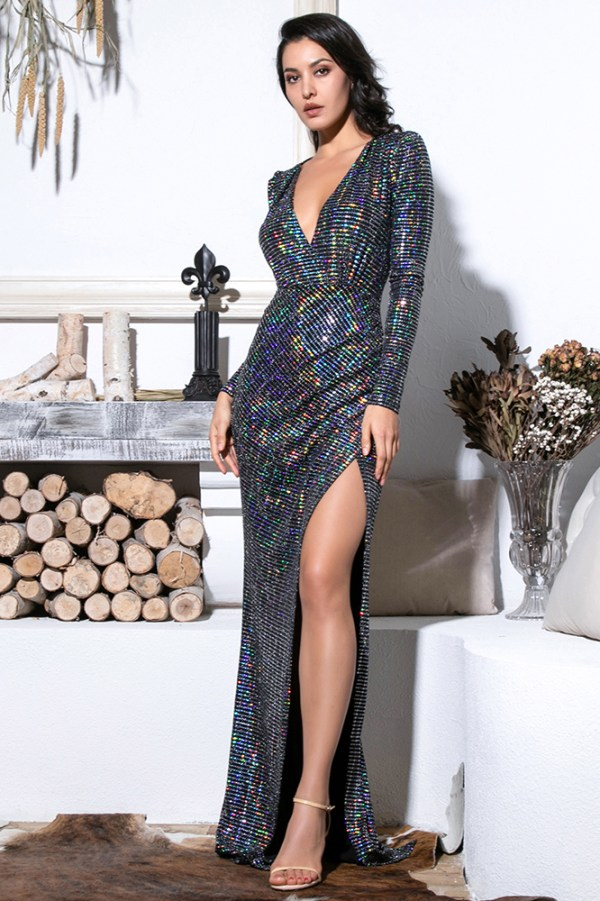Iridescent Glitter Sequins Stretchy Maxi Dress Deep V-Neck Cut Out Puff Sleeves