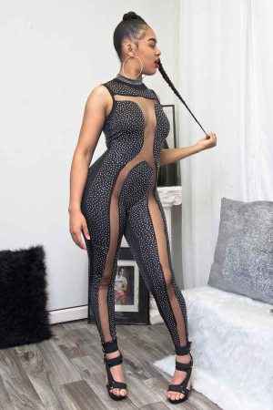 Show Something Jeweled Sheer Mesh Jumpsuit