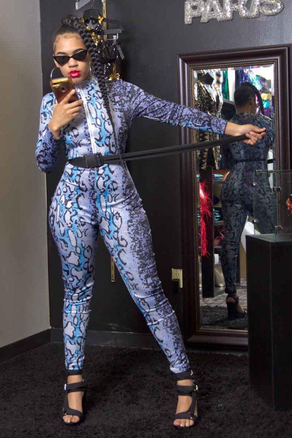 Sahara Snakeskin Print Zip Front Jumpsuit