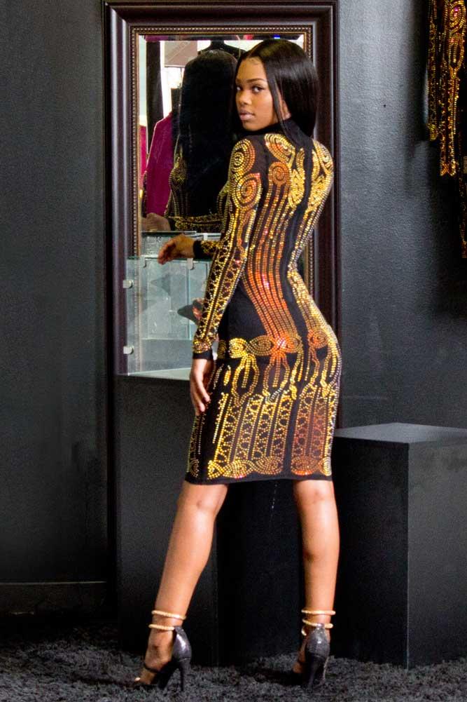 divined doll rhinestone studded sheer mesh dress